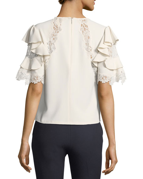 Short-Sleeve Crepe Top w/ Lace