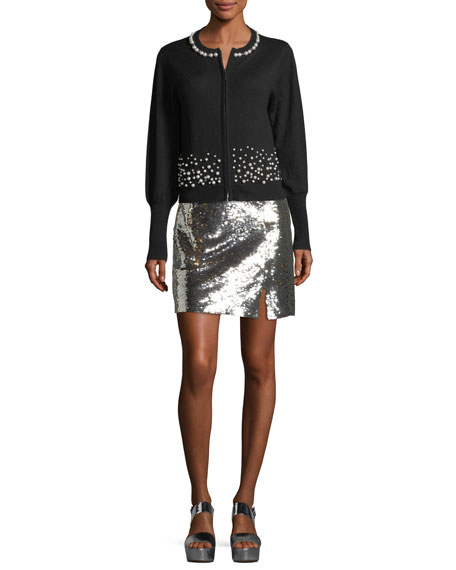 Showtime Front-Slit Sequin Mini Skirt