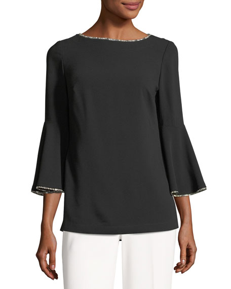 Bromely Bell-Sleeve Blouse w/ Metallic Trim
