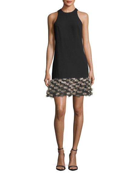 Trina Turk Crepe Trapeze Tinsel Cocktail Dress
