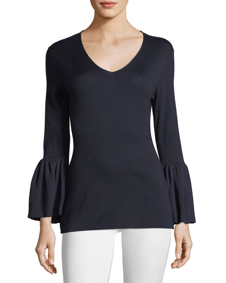 Neiman Marcus Cashmere Collection V-Neck Ruffle-Cuff