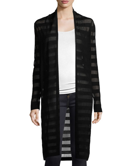 Cashmere-Blend Tonal Striped Duster Cardigan