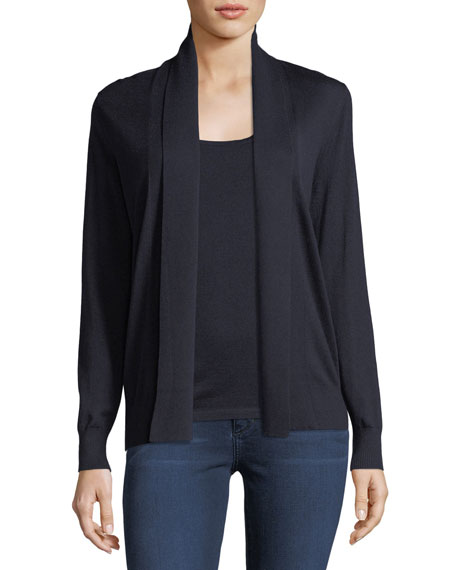 Cashmere Abstract-Back Open-Front Cardigan
