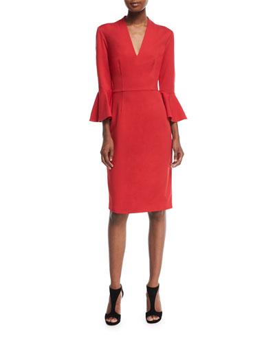 V-Neck Ponte Bell-Sleeve Dress