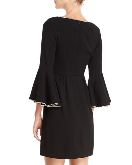Bromely Crepe Full Bell-Sleeve Dress w/ Crystal Detail