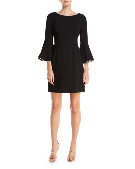 Trina Turk Crepe Full Bell-Sleeve Dress w/ Crystal