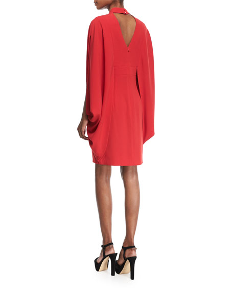 Kimono-Style Choker-Neck Sparkle Crepe Dress