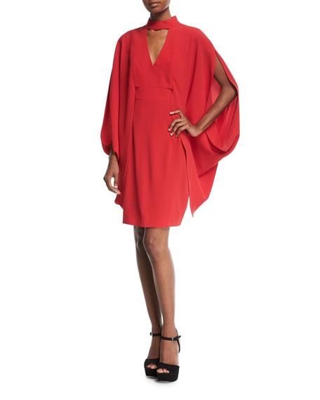 Trina Turk Kimono-Style Choker-Neck Sparkle Crepe Dress