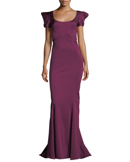 Bethanie Short-Sleeve Mermaid Evening Gown