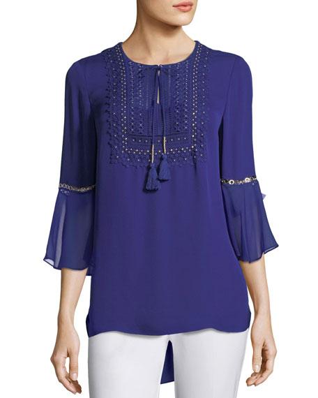 Elie Tahari Charlie 3/4-Sleeve Embellished Silk Blouse, Dark