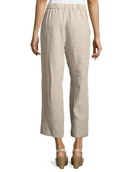 Organic Linen Straight-Leg Ankle Pants, Petite