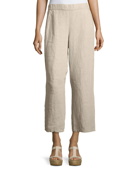 Eileen Fisher Organic Linen Straight-Leg Ankle Pants, Petite