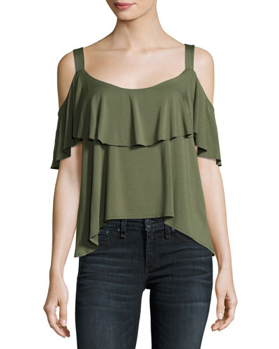Bella Envelope Cold-Shoulder Top, Olive