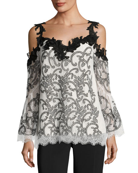 Kobi Halperin Ren Embroidered Cold-Shoulder Lace Top