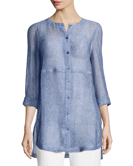 Eileen Fisher Woven Linen Mesh Round-Neck Top, Plus