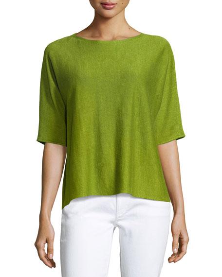 Eileen Fisher Bateau-Neck Organic Linen Box Top