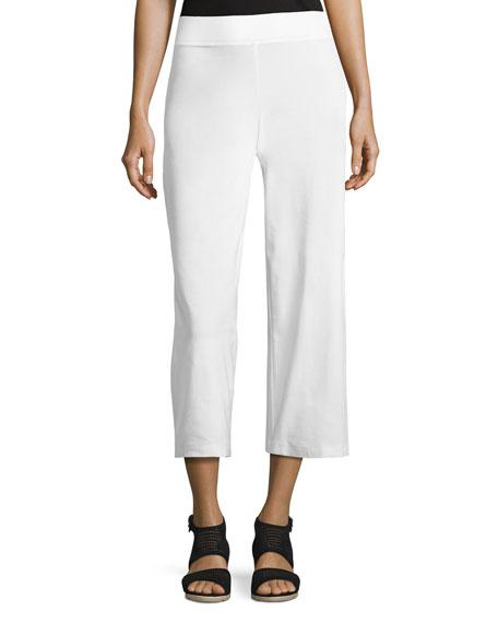 Wide-Leg Washable-Crepe Cropped Pants, Plus Size