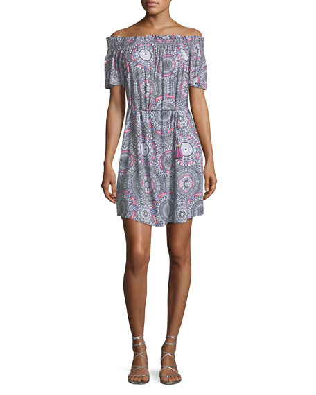 Off-the-Shoulder Printed Coverup Mini Dress