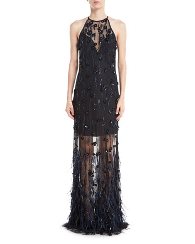 Amia Sleeveless Illusion Feather Evening Gown