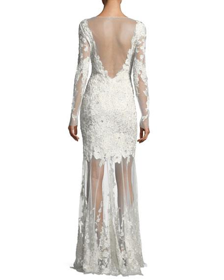 Larsa Floral Lace Illusion V-Neck Dress