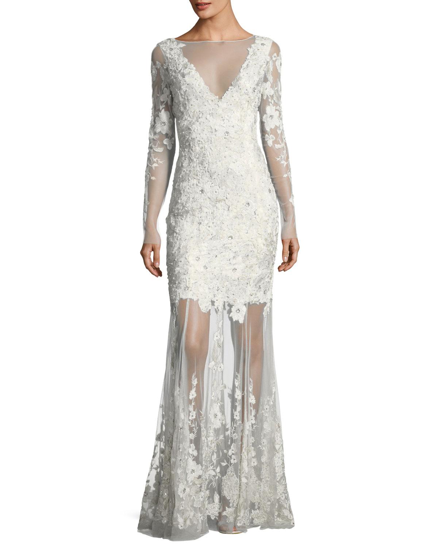36cc9552a7 Elie Tahari Larsa Floral Lace Illusion V-Neck Dress