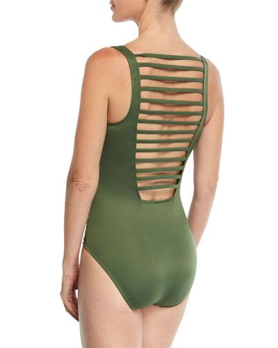 Steffi Ladderback Solid One-Piece Swimsuit w/ Shirring