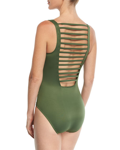 Steffi Ladderback Solid One-Piece Swimsuit w/ Shirring