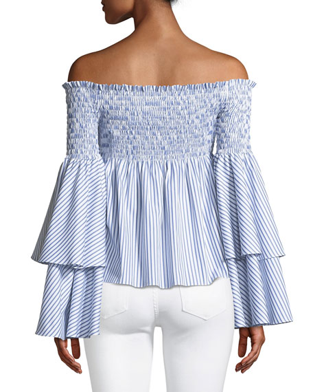 Appolonia Off-the-Shoulder Sweetheart Striped Poplin Top