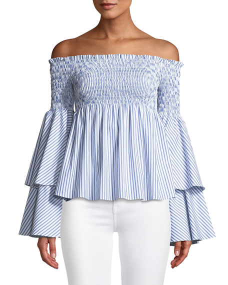 Caroline Constas Appolonia Off-the-Shoulder Sweetheart Striped