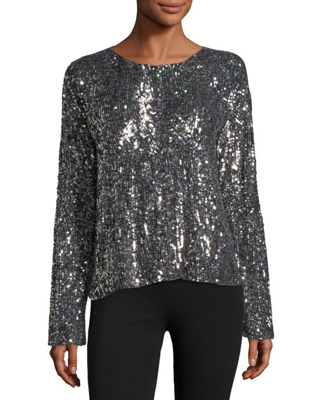Abilene Crewneck Long-Sleeve Chrome Sequin Top