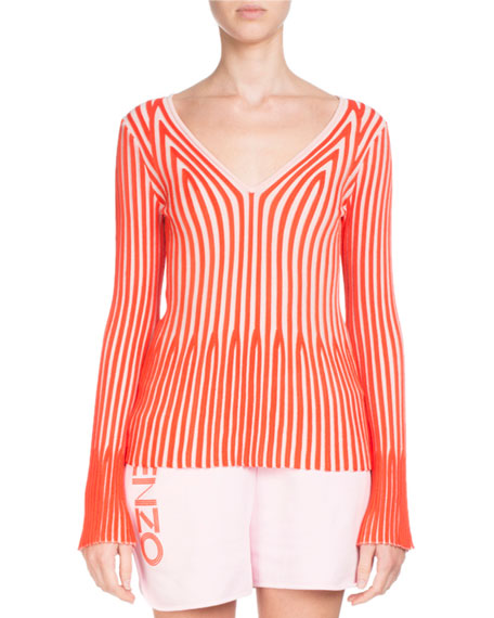 V-Neck Long-Sleeve Striped Knit Sweater