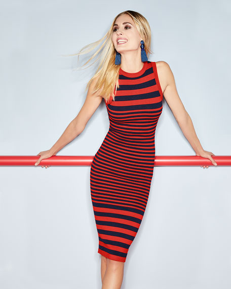 Striped Ottoman Fitted Dress
