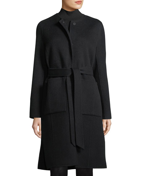 Double-Face Brushed-Wool Belted Coat