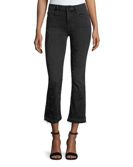 Le Crop Mini Boot-Cut Jeans with Beading