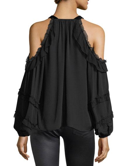 Cold-Shoulder Chiffon Blouse w/ Velvet Ties