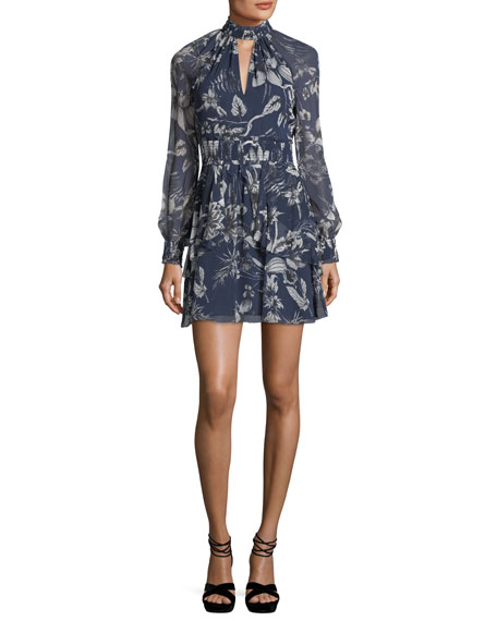 Parker Evette Mock-Neck Floral-Print Silk Dress