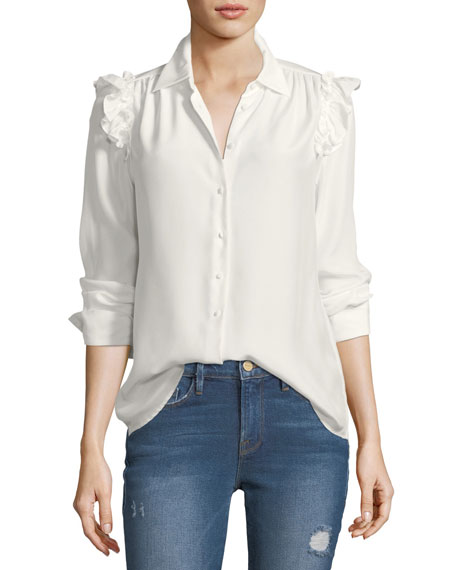 Button-Front Ruffled Long-Sleeve Silk Shirt