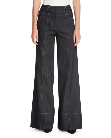 cinq a sept Talia Wide-Leg Cotton Pants w/