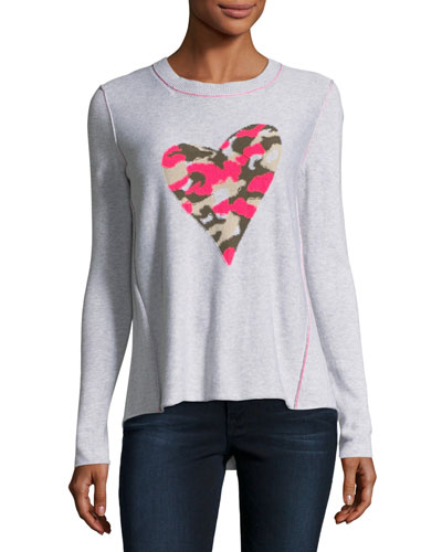 Swipe Right Camo-Heart Sweater
