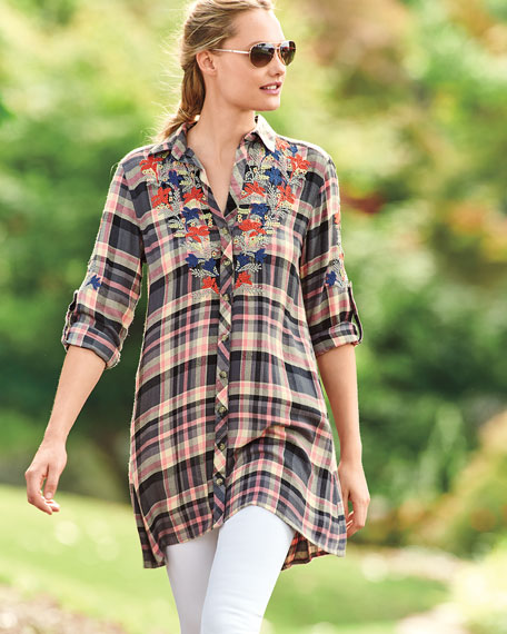 Cameron Plaid Embroidered Blouse, Plus Size