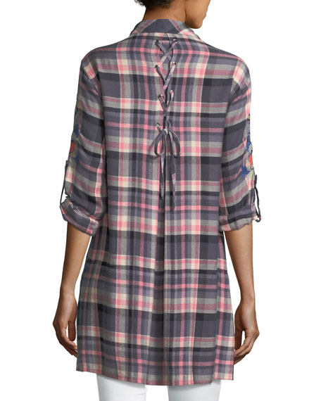 Cameron Plaid Embroidered Blouse