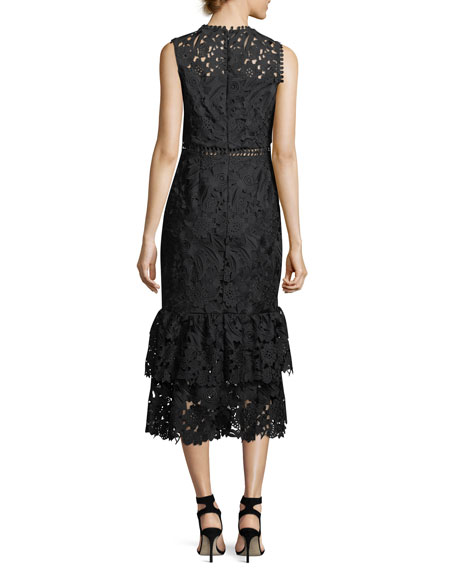 Dominick Lace Two-Tier Midi Cocktail Dress
