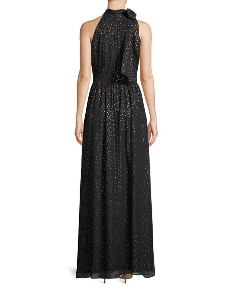 Kenmare Metallic Dot Column Gown