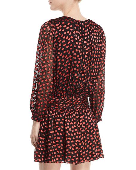 Tessie Drop-Waist Heart-Burnout Velvet Dress