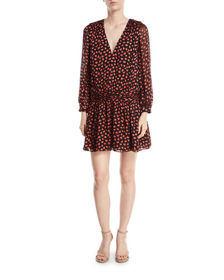 Tessie Drop Waist Heart Burnout Velvet Dress by Alice + Olivia