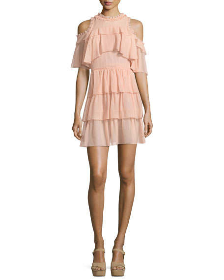 Nichola Cold-Shoulder Ruffle Party Dress, Blush