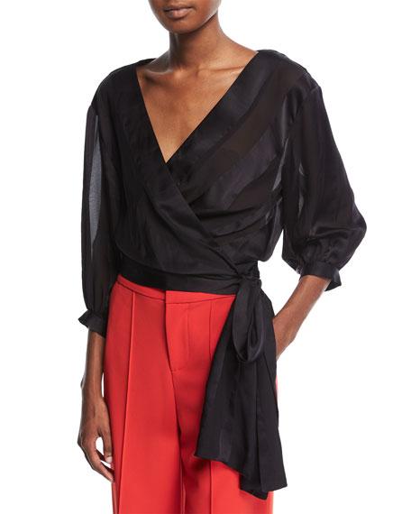 Dyanna Wrap-Front Silk Blouson Top