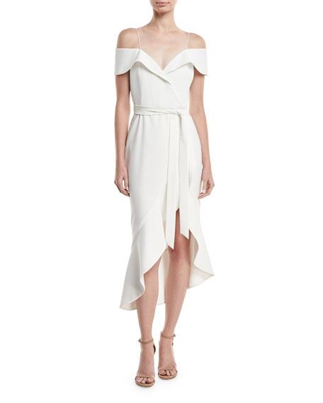 Alice + Olivia Josie Off-Shoulder Ruffle Wrap Dress