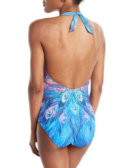Dream Catcher Plunging Halter Printed One-Piece Swimsuit