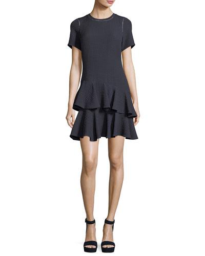 Crewneck Jacquard Mini Dress
